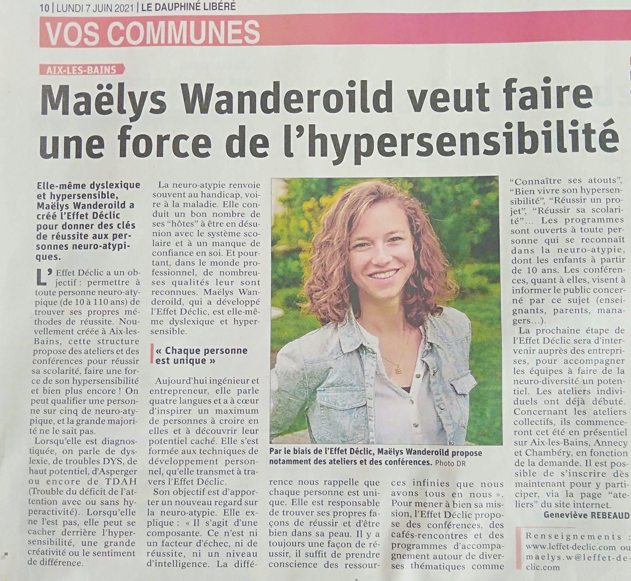 2021.06.07 Le Dauphine Libere LEffet Declic scaled - Rencontre avec Maëlys Wanderoild de l'Effet Déclic